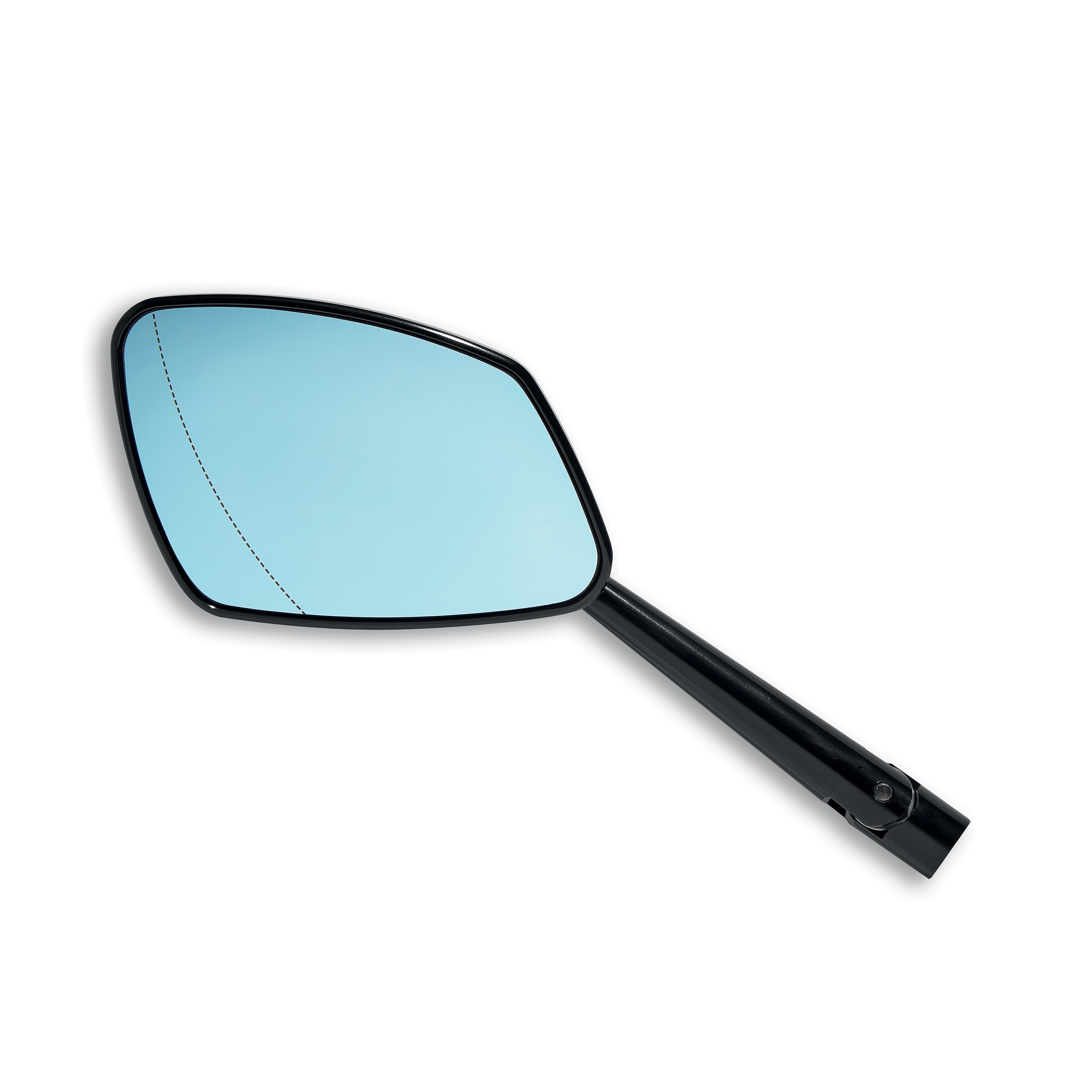 Black LH aluminium rear-view mirror.
